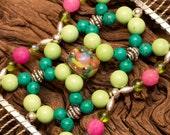 Handmade Hair Comb - Pink, Green & Turquoise - Semi-Precious stones - Divalicious