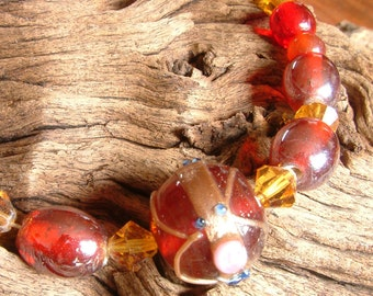 Handcrafted Necklace -  Vintage Beads - Venetian Style - Red and Topaz - Bohemian Rhapsody
