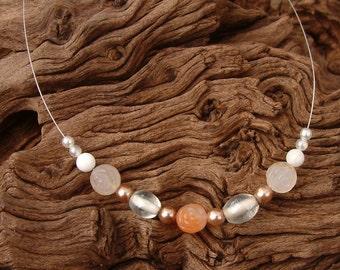 Bridal - Handcrafted Necklace - Semi Precious -  Peaches and Cream