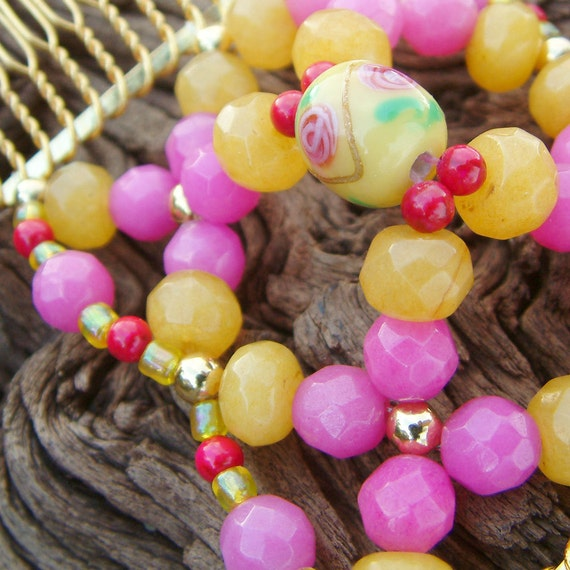 LIMITED EDITION - Handcrafted Hair Comb - Semi Precious Stones - Yellow and Pink - Battenberg
