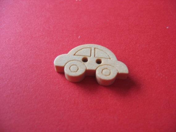 Wooden buttons - car design (set of 6)