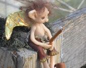 OOAK Handmade Woodland Boy Fairie Max, with fishing pole