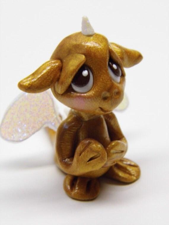 "OOAK Handmade Polymer Clay Tiny Baby Dragon ""Cinder"" Fantasy Art Doll"