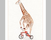Kids room wall art Giraffe on Tricycle - 8x10 - Bicycle art Funny Childrens art