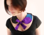 Chevron Col Claudine Black purple & teal blue silk OOAK by Jye, Hand-made in France