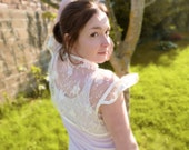 Bridal bolero shrug Ivory French lace & silk Size Medium OOAK by Jye, Hand-made in France