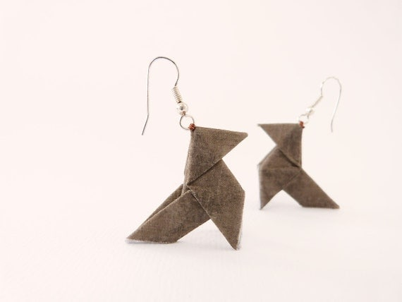 Origami earrings Eco friendly taupe brown Reserved for Pam Schairbaum
