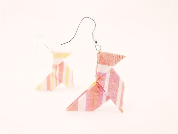 Origami earrings Pastel stripes silk OOAK by Jye, Hand-made in France