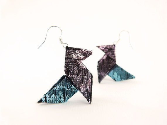 Origami earrings Multicolor glitter OOAK by Jye, Hand-made in France