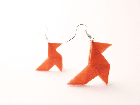 Origami earrings Neon orange silk OOAK by Jye, Hand-made in France