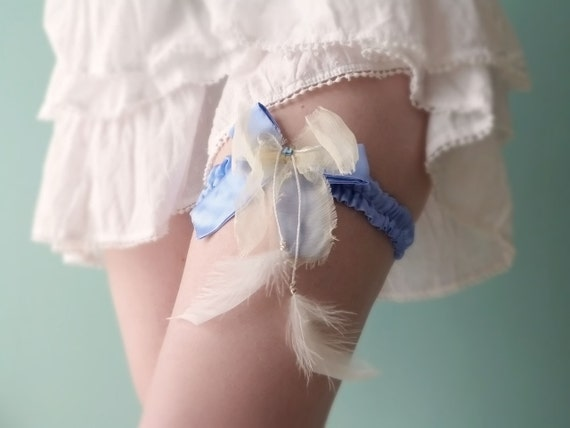 Something blue garter Silk & feathers OOAK by Jye, Hand-made in France