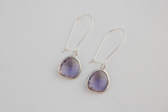 Small kidney sterling silver and amethyst glass