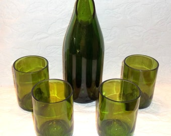 Recycled Green Wine Bottle Carafe and FOUR (4) Stemless Wine Glasses