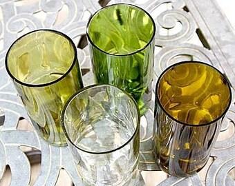 Set of 4 wine bottle glasses