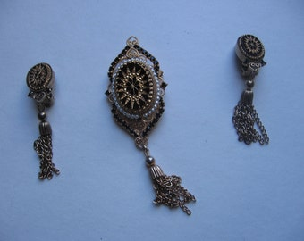Tassel pin and earring set