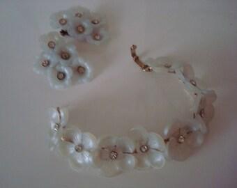 Rhinestone plexi bracelet and earrings set