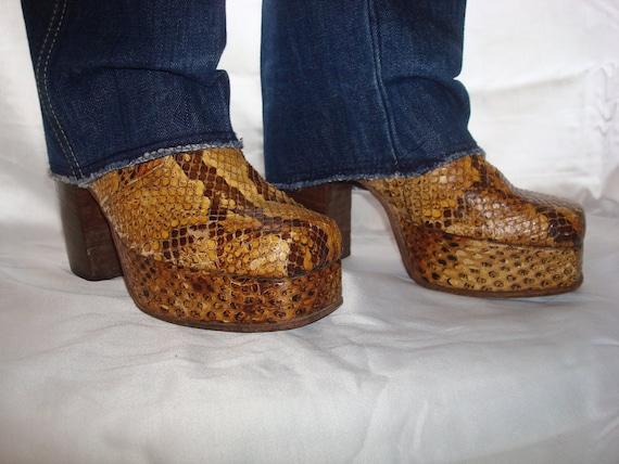 Snakeskin platform boot