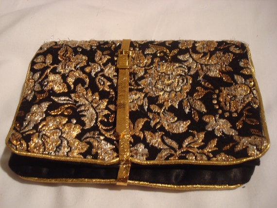 Black and gold brocade clutch