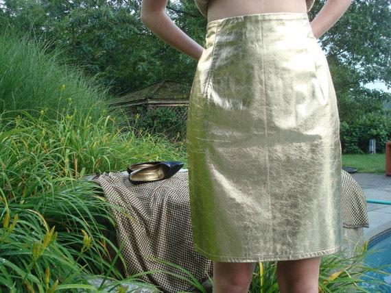 YSL style gold metallic skirt