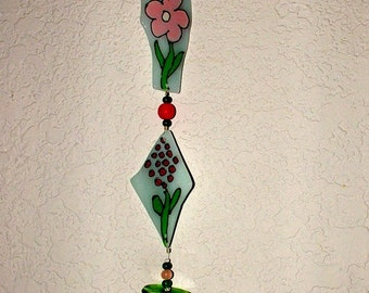 Suncatcher -  Pink and Green Flowers Recycled Glass Sun Spot
