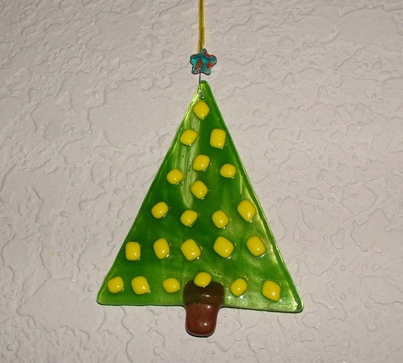 Glass Christmas Tree With Yellow Ornaments