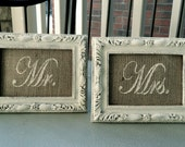 """MR. & MRS. 5 x 7"""" Burlap Wedding Sign INSERTS in Shabby Chic Cream - for Head Table or Place Cards- French country, Barn, Rustic, Home Decor"""