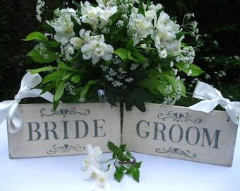 Pair of Bride and Groom wedding signs. Handpainted wood -  vintage style - cream and grey green.