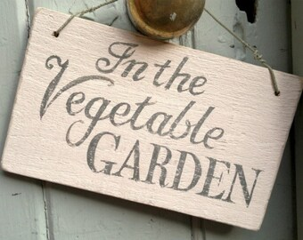 Vegetable Garden sign -  handpainted, vintage English country garden style on reclaimed wood.