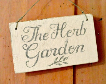 Herb Garden sign, handpainted,  vintage English country garden style, reclaimed wood