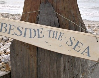 Seaside sign. Hand painted wooden sign, driftwood style.Cream and blue.