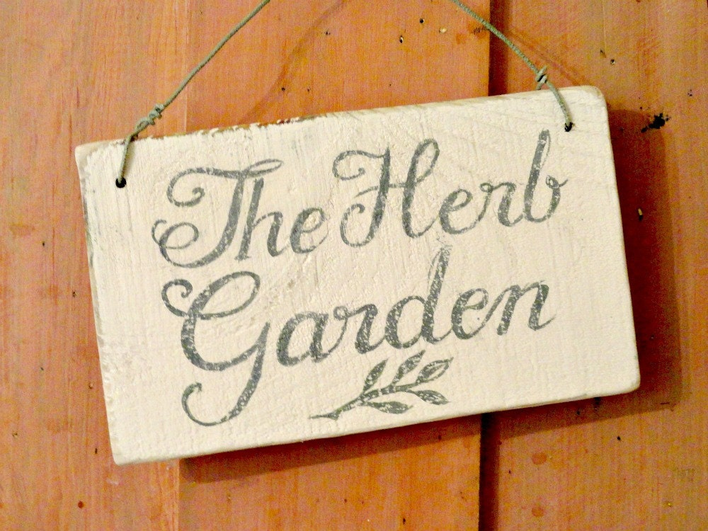 herb garden sign handpainted vintage by hollyscobledesigns
