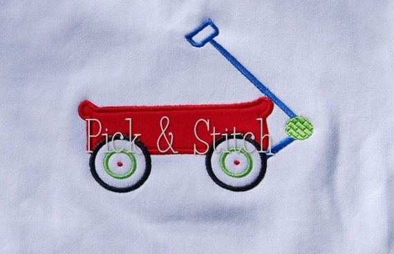 Wagon Applique Design Machine Embroidery INSTANT DOWNLOAD