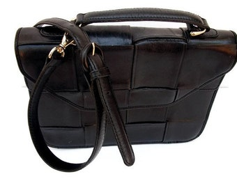 Vintage Black Handbag/ Black Crossbody Bag