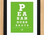 Eye Chart Print- Peas and Carrots