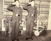 Vintage Photo - Young Boys Saluting in Military Uniform, Standing in the Family Living Room at Home - 1940s WWII era