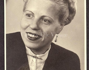 ON SALE - Vintage Real Photo Postcard (RPPC) - Portrait of German Woman w. Pulled-Back Grey Hair, Jacket, Bar Pin - Berlin c. 1950s-1960s
