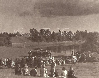 ON SALE Vintage Photo - Crowds Watch a Choir Sing in a Big Field by a Lake, Clouds and Storm Rolling In - c. 1940s-50s RPPC