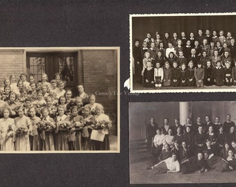 Set of 3 Vintage Photos - School Girls, Class Graduation Portrait with Teacher, Great Outfits, Europe, c.1920s-1950s