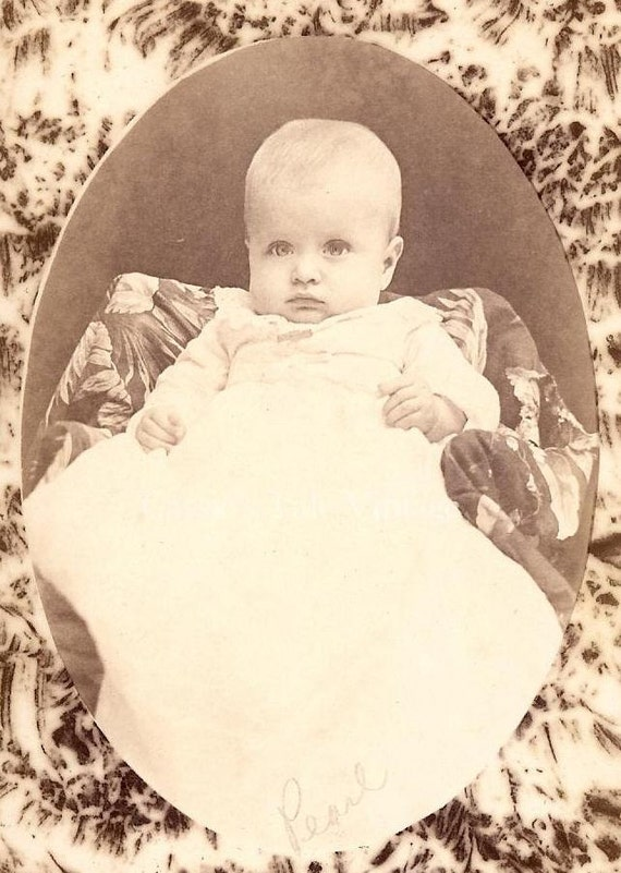 """Vintage Cabinet Card Photo - Pretty Baby """"Pearl"""" - Portrait Printed Against a Striking, Patterned Border - c. late 1800s"""
