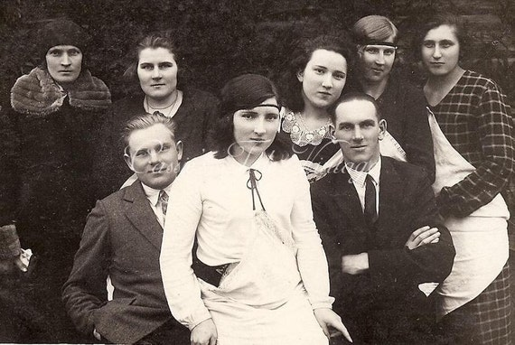 Vintage Photo - Group of Young Men & Women - Forehead Headbands, Fabulous Picture - Family, Friends - RPPC c. 1920s-30s