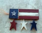Firecracker and Stars Folk Art Americana Sign