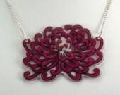 Raspberry Chrysanthemum Shrinky Dink Necklace