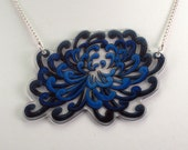 Blueberry Chrysanthemum Shrinky Dink Necklace