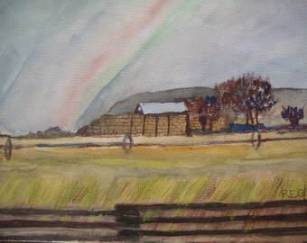 Wheatfield with Fence and Rainbow