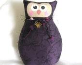 OWL Pillow Doll  8.5in. PURPLE Soft Sculpture Prim Primitive Cloth Handmade Handcrafted CharlotteStyle Decorative Folk Art