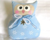 Owl Pillow Doll Soft Sculpture Cloth Doll 7 inches WINTER SNOWFLAKES Prim Primitive Handmade Handcrafted CharlotteStyle Decorative Folk Art