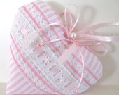 VALENTINE Sachet Heart, PINK and WHITE Stripes with Lavender Buds, Prim Primitive Cloth Handmade CharlotteStyle Decorative Folk Art