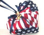 Sachet Heart, USA Flag Patriotic with Lavender Buds, Primitive Handmade CharlotteStyle Decorative Folk Art