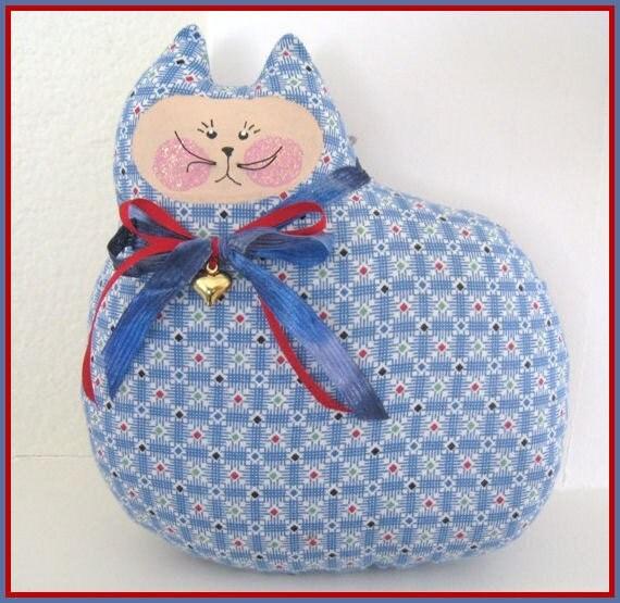 CAT Pillow Doll Cloth Doll 7 inch Blue & White Cloth Doll Prim Primitive Handmade CharlotteStyle Decorative Folk Art
