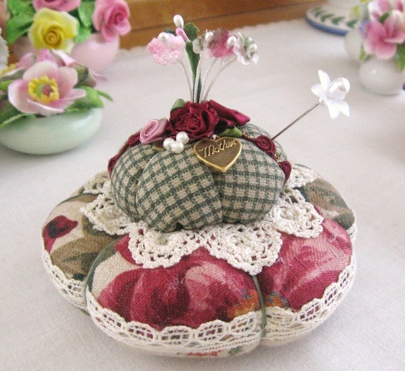 Pincushion Handmade Soft Sculpture MOTHER Dark RED and GREEN Double Handcrafted CharlotteStyle Needlecraft